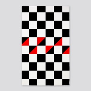 Black and white checkers with red triangl Area Rug