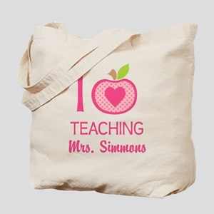 I Love Teaching personalized apple Tote Bag