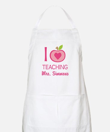 I Love Teaching personalized apple Apron