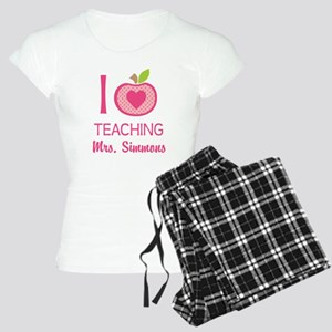 I Love Teaching personalized apple Pajamas