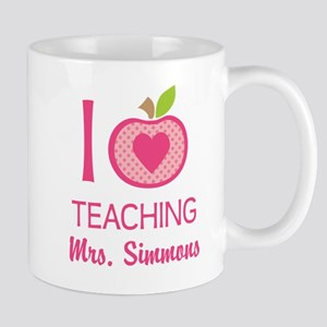I Love Teaching personalized apple Mugs