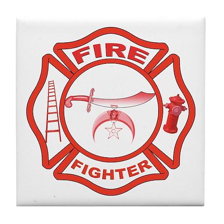 Shrine Fire Fighter Tile Coaster