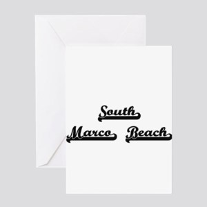 South Marco Beach Classic Retro Des Greeting Cards