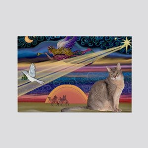Xmas Star / Abyssinian Cat Rectangle Magnet
