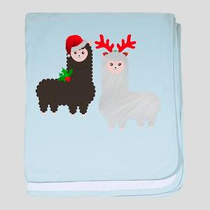 christmas reindeer alpacas baby blanket