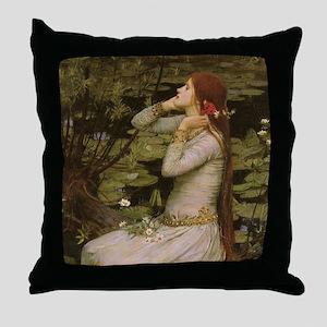 Ophelia by JW Waterhouse Throw Pillow