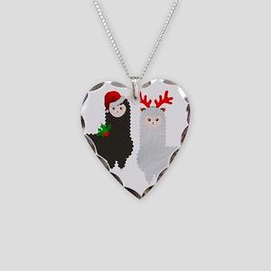 christmas reindeer alpacas Necklace Heart Charm