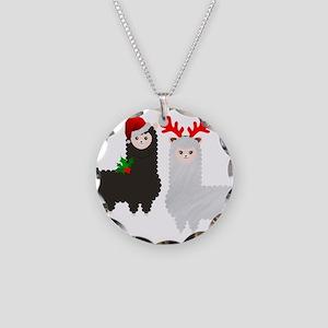 christmas reindeer alpacas Necklace Circle Charm