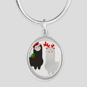 christmas reindeer alpacas Necklaces