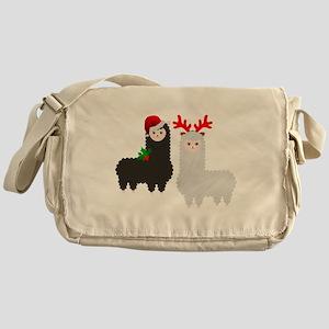 christmas reindeer alpacas Messenger Bag