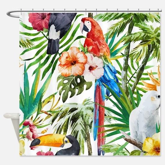 Funny Tropical birds Shower Curtain