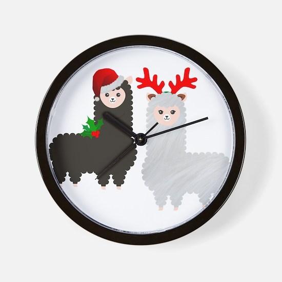 christmas reindeer alpacas Wall Clock