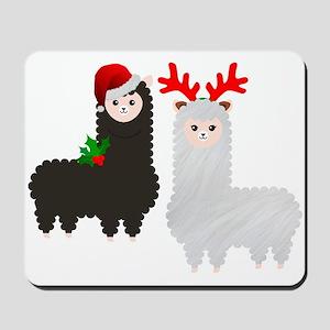 christmas reindeer alpacas Mousepad