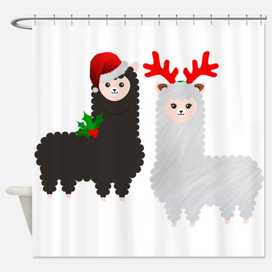 christmas reindeer alpacas Shower Curtain