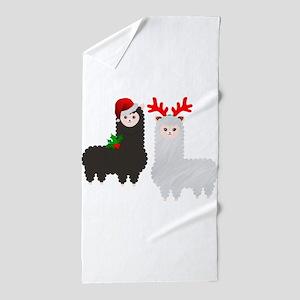 christmas reindeer alpacas Beach Towel