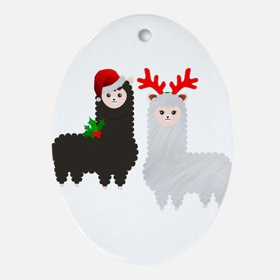 christmas reindeer alpacas Oval Ornament