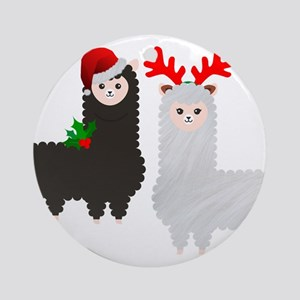 christmas reindeer alpacas Round Ornament