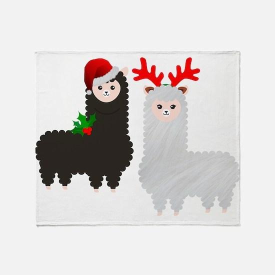 christmas reindeer alpacas Throw Blanket