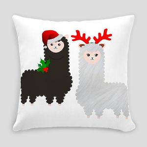 christmas reindeer alpacas Everyday Pillow