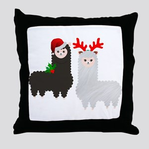 christmas reindeer alpacas Throw Pillow