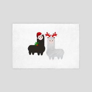 christmas reindeer alpacas 4' x 6' Rug