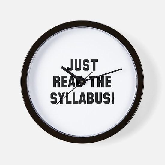 Just Read The Syllabus Wall Clock