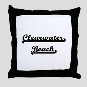 Clearwater Beach Classic Retro Design Throw Pillow