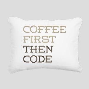 Coffee Then Code Rectangular Canvas Pillow