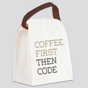 Coffee Then Code Canvas Lunch Bag