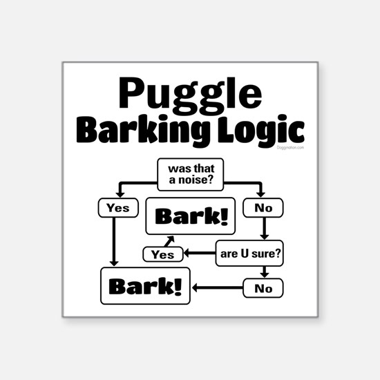 "Puggle Logic Square Sticker 3"" x 3"""