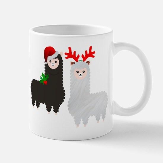 christmas reindeer alpacas Mugs