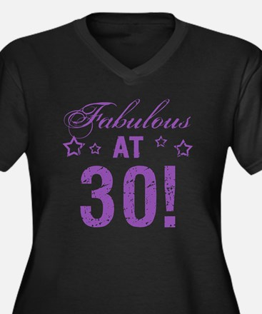 Fabulous 30t Women's Plus Size V-Neck Dark T-Shirt
