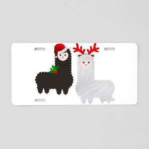 christmas reindeer alpacas Aluminum License Plate