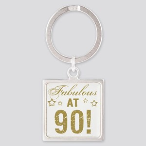 Fabulous 90th Birthday Square Keychain