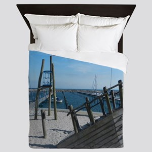 Shipwreck Beach Scene Queen Duvet