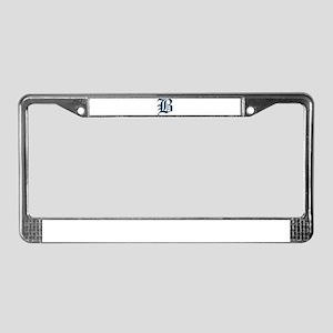 B Old English Monogram License Plate Frame