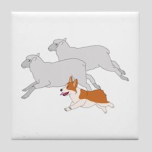 Corgi Herding Sheep Tile Coaster