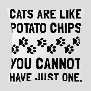 Cats Like Potato Chips Woven Throw Pillow