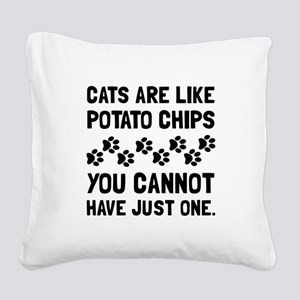 Cats Like Potato Chips Square Canvas Pillow