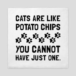 Cats Like Potato Chips Queen Duvet
