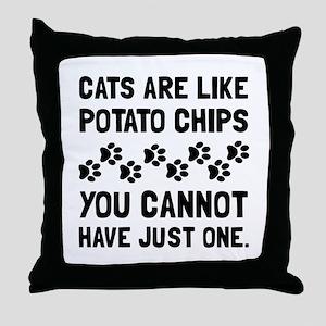 Cats Like Potato Chips Throw Pillow