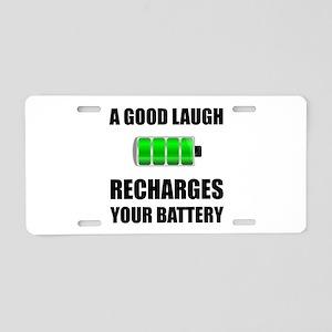 Laugh Recharges Battery Aluminum License Plate