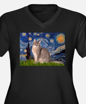 Starry / Blue Abyssinian cat Women's Plus Size V-N