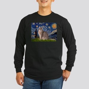 Starry / Blue Abyssinian cat Long Sleeve Dark T-Sh