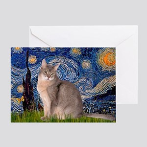 Starry / Blue Abyssinian cat Greeting Card