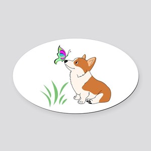 Corgi with butterfly Oval Car Magnet