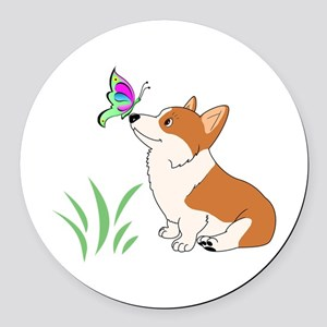 Corgi with butterfly Round Car Magnet
