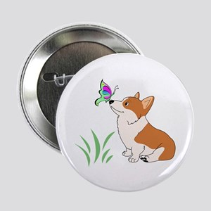 """Corgi with butterfly 2.25"""" Button (10 pack)"""