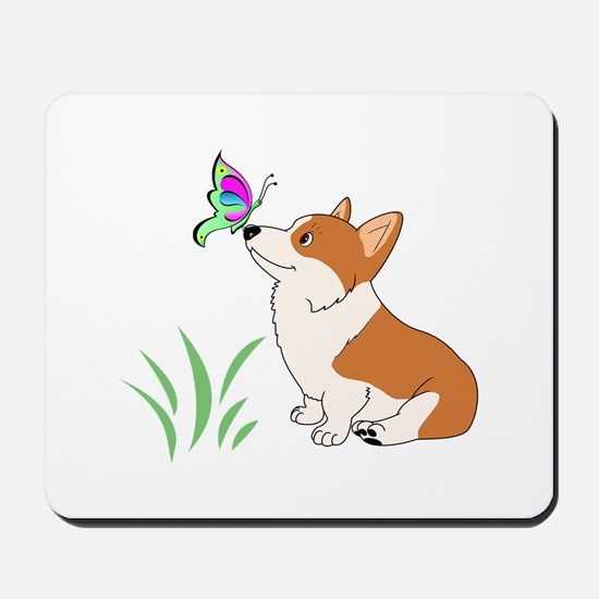 Corgi with butterfly Mousepad