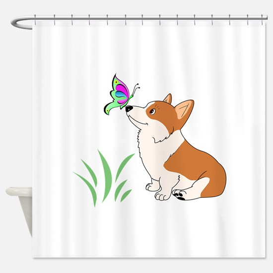 Corgi with butterfly Shower Curtain